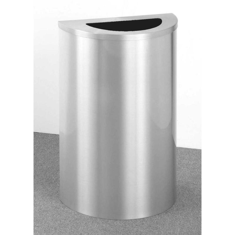 Glaro 14 Gallon Half Round Waste Receptacle, Satin Aluminum