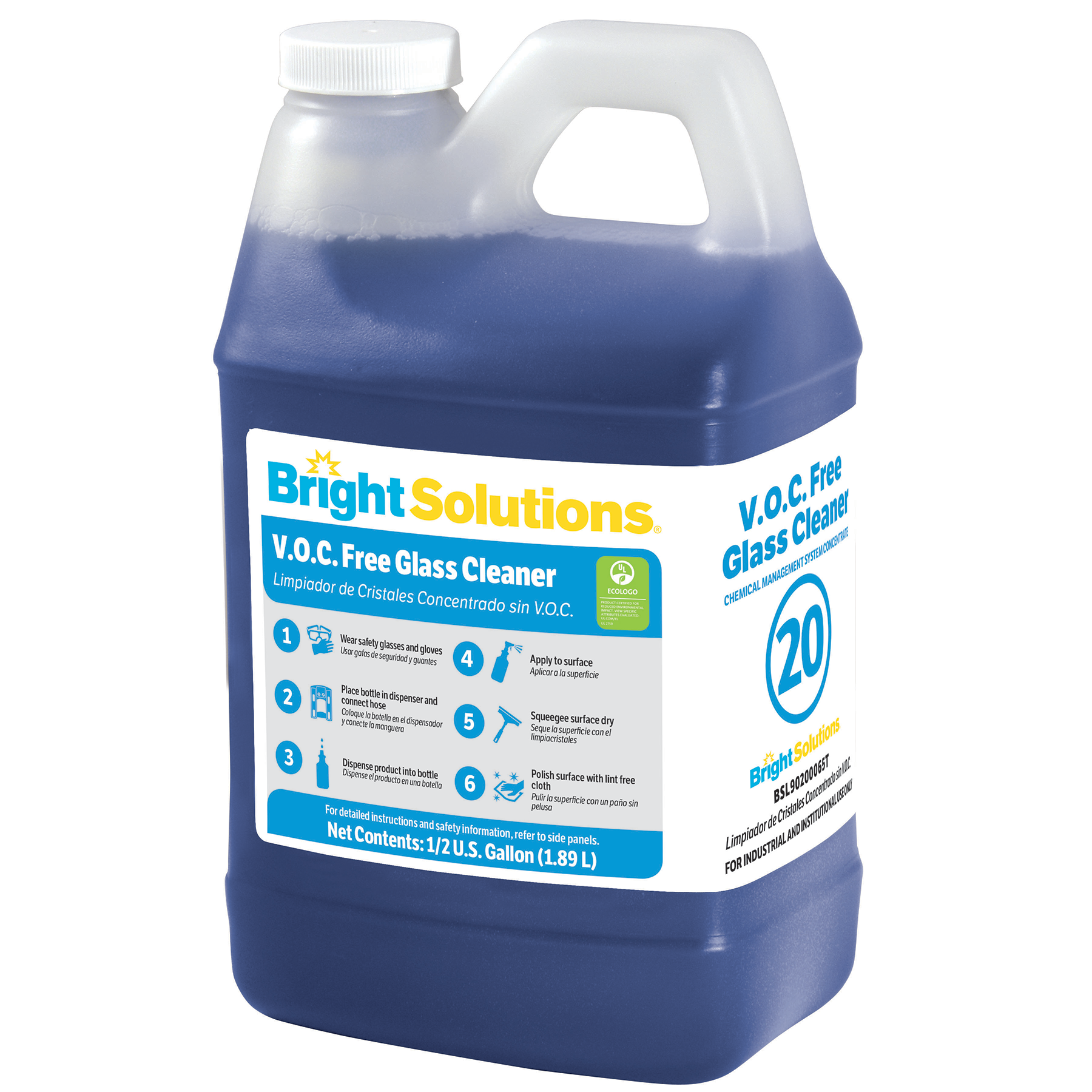 Bright Solutions® V.O.C. Free Glass Cleaner #20 - 4/64oz