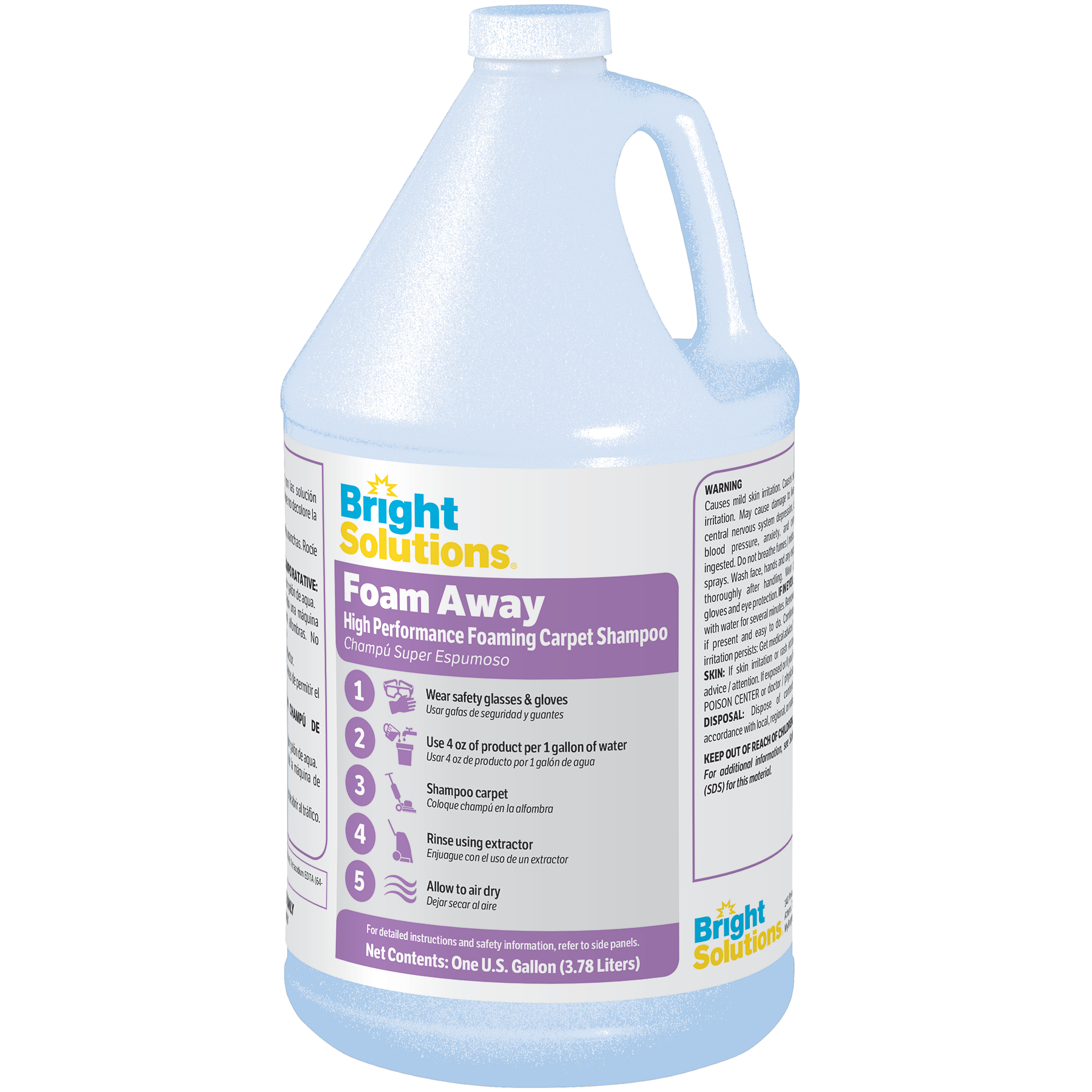Bright Solutions® Foam Away — High Performance Foaming Carpet Shampoo - 4/1Gal