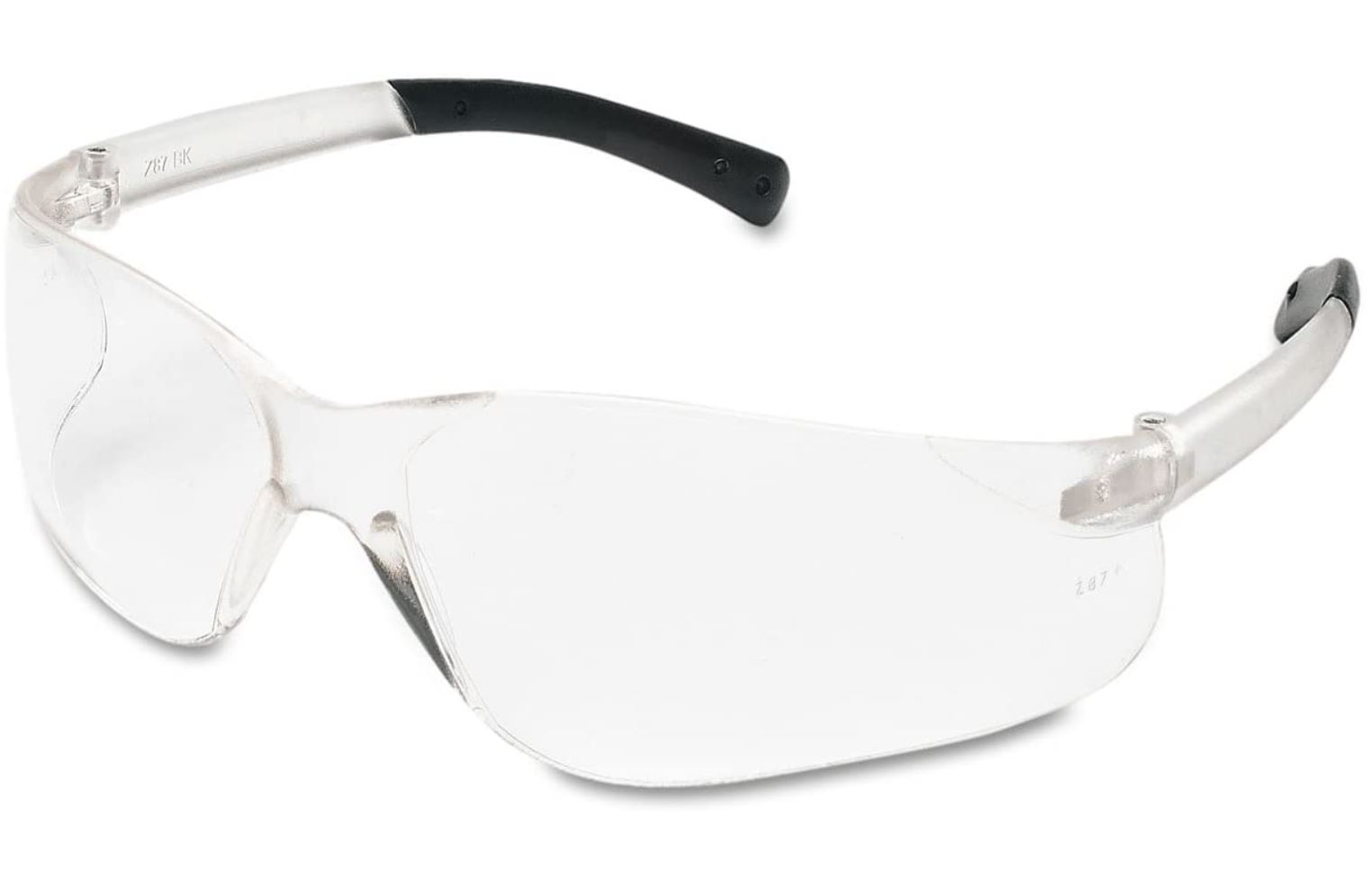 Crews BK110BX BearKat Safety Glasses, Wraparound, Black Frame/Clear Lens