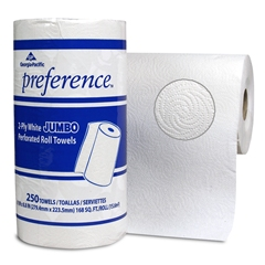 GP Preference® White Jumbo Perforated Roll Towel, 12/250