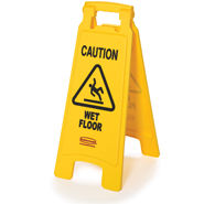 "Floor Sign with ""Caution Wet Floor"" Imprint, 2-Sided"