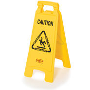 "Floor Sign with Multi-Lingual ""Caution"" Imprint, 2-Sided"