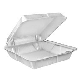 Dart[R] Foam Hinged Lid Cont. - Large, 1 Cmpt., White. 2/100/cs