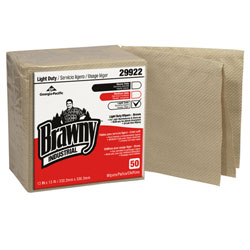 GP Brawny Industrial[TM] 1/4 Fold Paper Wiper - Brown. 12/50/cs