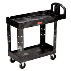 "Rubbermaid[R] 2 Shelf Cart w/5"" Casters - 39 1/4"" L, Black. ea"