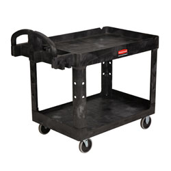 "Rubbermaid[R] 2 Shelf Cart w/5"" Casters - 45 1/4"" L, Black. ea"
