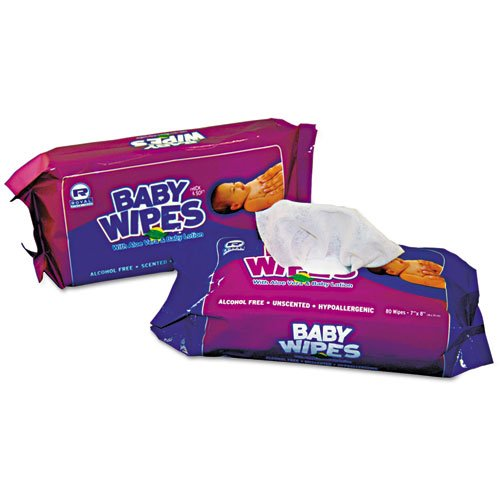 12/80 Royal Unscented;baby Wipes 14-5/16x5-5/8