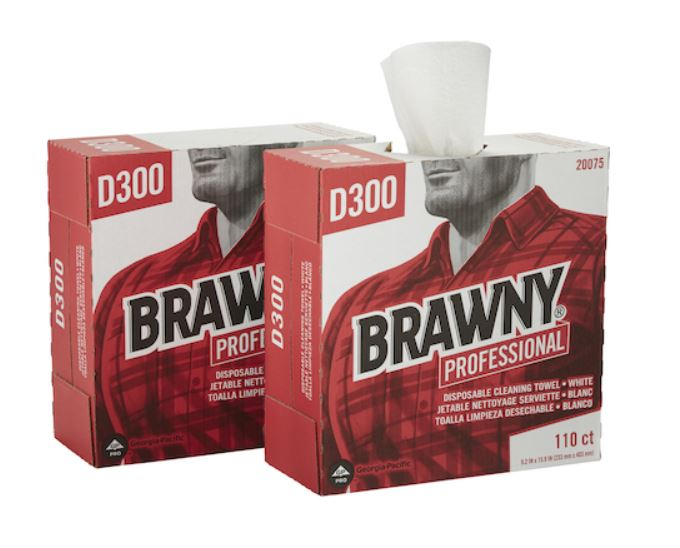 BRAWNY® Professional D300 Disposable Wipers, Tall Box, White, 10/110