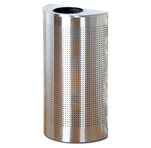 1/2 Round Trash Open Top Silver Metallic