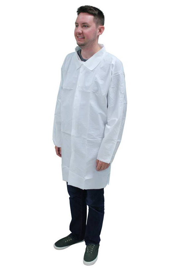 ProMax® (Microporous) Labcoat No Pocket Snap Front Long Sleeve Elastic Wrists, White, 5XL