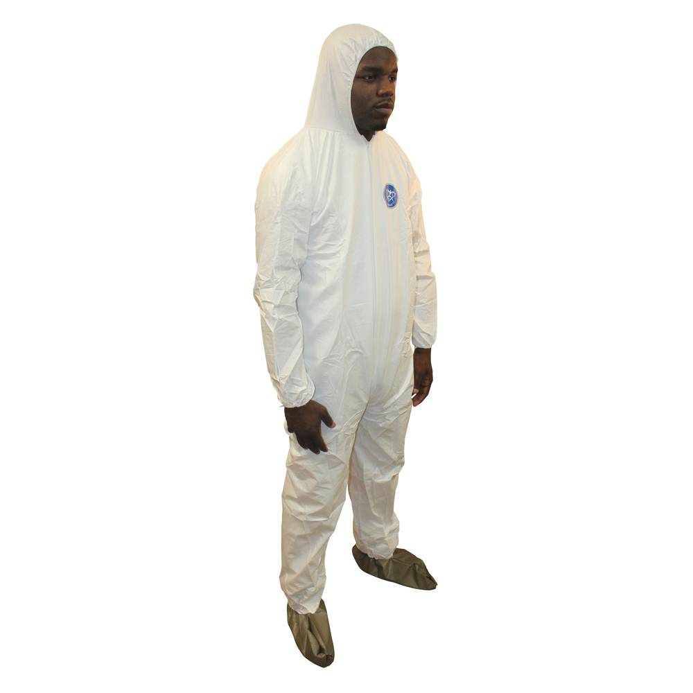 ProMax® (Microporous) Coverall Zipper Front Attached Hood Elastic Wrists and Ankles White, 2XL